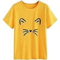 Mujeres Tops Rovinci Mujer Moda Cómodo Casual Manga Corta Lindo O Cuello Cat Impreso Casual Blusa Solid Tops Camiseta