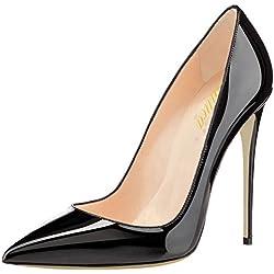Lutalica Zapatos de tacón Alto con tacón de Aguja de Boda para Mujer, con Punta en Punta, de tacón Alto Charol Negro Talla 43