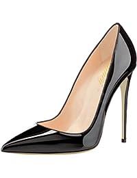 Lutalica Femmes Pointu Toe Patent Stiletto Talon Haut Mariage Fête Robe Escarpins  Chaussures 3fa1da4570f8