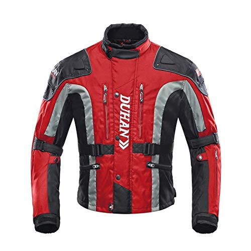 LLC-CLAYMORE Textil Motorradreitjacken, Moto-Jacken für Männer und Frauen, Windschutz-Schutzgetriebe-Zahnräder,Red,XXL (Vintage Motorrad-zahnrad)