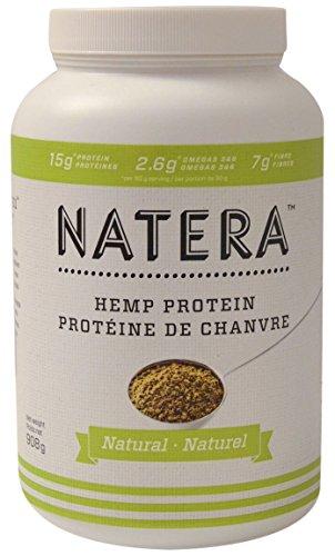 NATERA kanadisches Hanfprotein Naturell Vegan ohne Milch Soya u. Gluten ca. 50% Proteine ca. 10% Omega 3 u. Omega 6 mit 18 Aminosäuren, 908 g