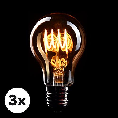 dc017c90832 CROWN LED 3 x Edison Glühbirne E27 Fassung, 4W, Warmweiß, 230V, EL02,  Antike Filament Beleuchtung im Retro Vintage Look besonders günstig bei  Günstig ...