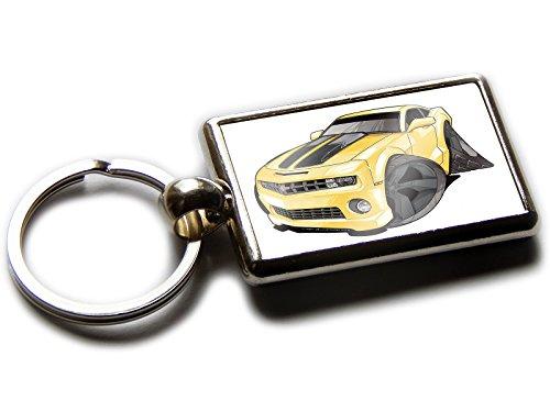 Chevrolet Camaro Sports Auto OFFIZIELLER Koolart Qualität Chrom Schlüsselanhänger Bild beiden Seiten wählen Sie eine Farbe., Yellow with Black Wheels (Chrom-wheel-farbe)