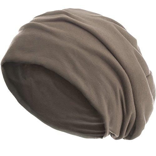 style3 Slouch Beanie aus atmungsaktivem, feinem und leichten Jersey Unisex Mütze Haube Bini Einheitsgröße, Farbe:Sandgrau meliert