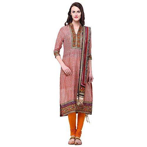 Vastrangna Beige Red Cotton Silk Semi-Patiala Salwar Kameez Fabric With Chunni For Women