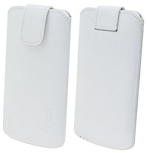 Suncase ECHT Ledertasche Leder Etui für iPhone X Tasche (mit Rückzugsfunktion und Klettverschluss) antik-cognac weiss
