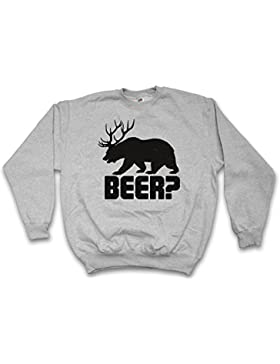 BEER? SWEATSHIRT – cerveza mazo martinete caza Cazador ciervo cornamenta cuernos corzo Deer Bear Fun Hunt Antlers...