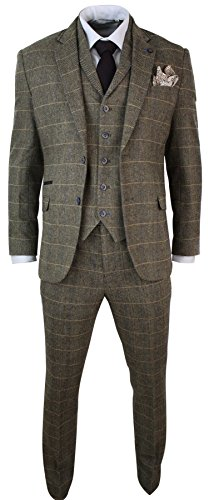 Mens-3-Piece-Classic-Tweed-Herringbone-Check-Tan-Brown-Slim-Fit-Vintage-Suit