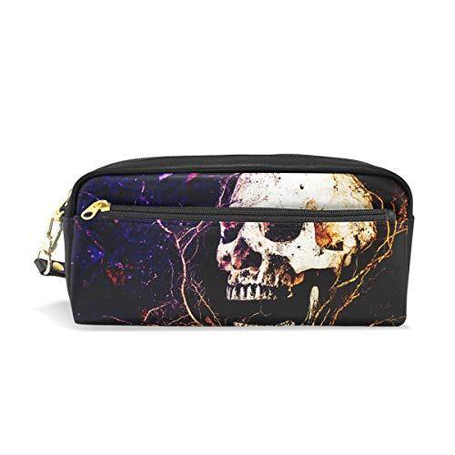 Pouch Federmappe mit Reißverschluss Große Make-up Bag Dark Gothic Style Evil Rose Skull Halloween Bleistift Tasche Bleistift Box für Jungen und Mädchen Kinder Schulbedarf