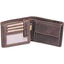 7ff13411e Cartera para señores Monedero para señoras Vintage Style LEAS, Piel  auténtica, marrón - '