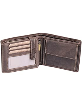 Cartera para señores Monedero para señoras Vintage Style LEAS, Piel auténtica, marrón - ''LEAS Vintage-Collection''