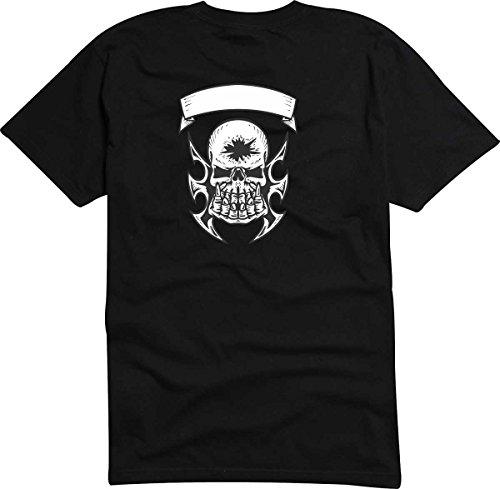 T-Shirt D605 T-Shirt Herren schwarz mit farbigem Brustaufdruck - Design Tribal Comic / abstrakte Grafik / Totenkopf Schädel im Rocker - Style Weiß