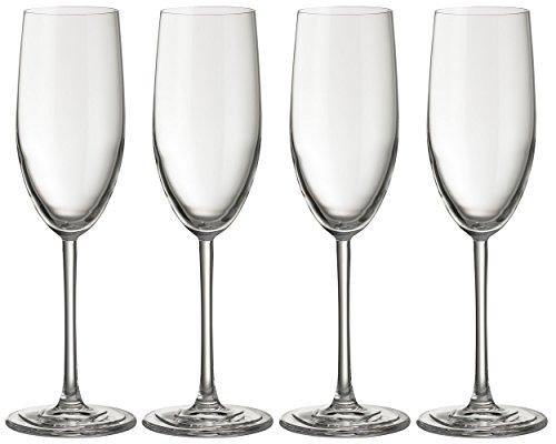 Jamie Oliver Waves Flûte à champagne 4 x 250 ml/255,1 gram hautes et ultra contemporain Cristal Verre de Prosecco Lot de beaux Verres à pied long clair et moderne Verrerie pour occasions spéciales Mariage Intérieur/extérieur