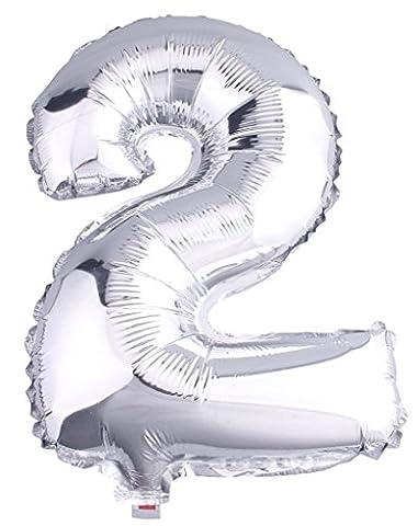 y-boa Folienballon DIY Zahl 0–9silber Dekoration Aluminium 16inche Geburtstag/Party/Weihnachten/Party/Park/Karneval, 2,