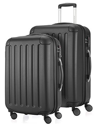 HAUPTSTADTKOFFER - Spree - 2er Koffer-Set Hartschale Matt, TSA, 55 / 65 cm,  mit Volumenerweiterung, Schwarz