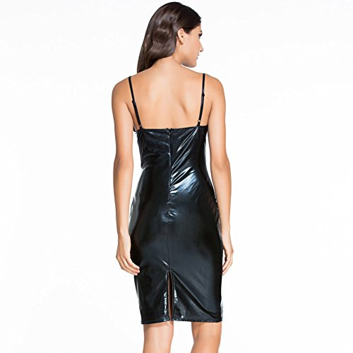 PU&PU Femmes Sortie / Fête / Cocktail Club PU Straps Halter Robe moulante, coupe basse Sans manches Open Back Black