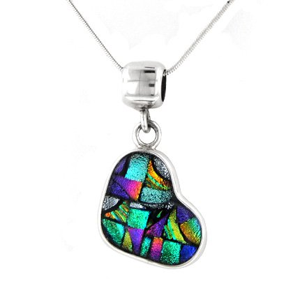 Mosaic Slanted Dichroic Glass Heart Pendant