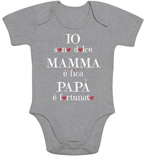 Shirtgeil io sono dolce, mamma è fica, regalo festa della mamma body neonato manica corta 6m grigio
