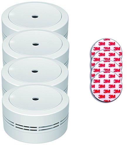 Jeising Mini Rauchmelder GS535 4er Set weiß mit Magnetklebebepad Magnetbefestigung 10 Jahres...