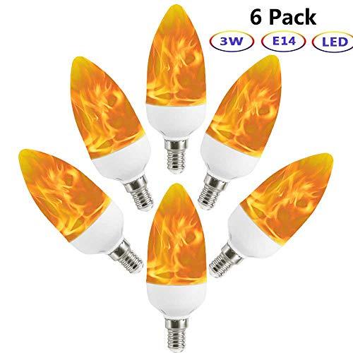 hbirne, Auccy E14 LED Flammeneffekt Birne Kandelaber Flamme Glühbirne wahre Feuer Dekorative Licht für Valentinstag/Hochzeit/Restaurants/Party/Festival, 6 Pack ()