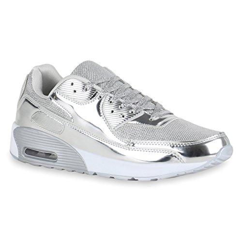 Herren Sport Leder-Optik Sneakers Velours Glitzer Metallic Runners Freizeit Schnürer Schuhe 140422 Silber Brooklyn 42 Flandell