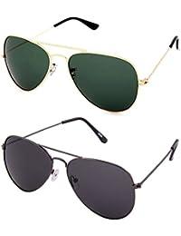 David Martin Combo Of Aviator Unisex Sunglasses - (Glbgrn-Viloetgrey|Voilet)
