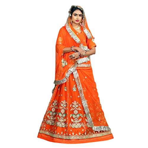 RAJWADI POSHAK Women Semi Stitched Lehanga (D.NO. 140_Red_Freesize)