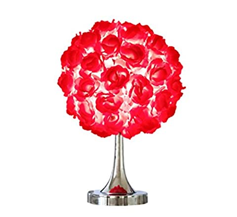 Hand-woven cloth cover plating metal table lamp wedding gift wedding room wedding roses flowers round table lamp (high 42cm, width 28cm, base 14cm) ,