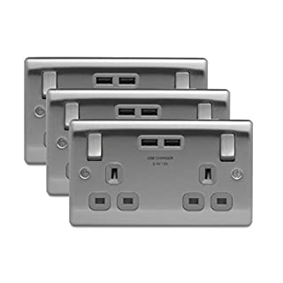 3 x BG NBS22U3G Twin 13A Switch Socket with USB Outlets (Brushed Steel/Satin Chrome)