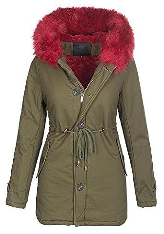 Damen Winter Jacke warme Winterjacke Baumwolle Parka Mantel Buntes Fell B444