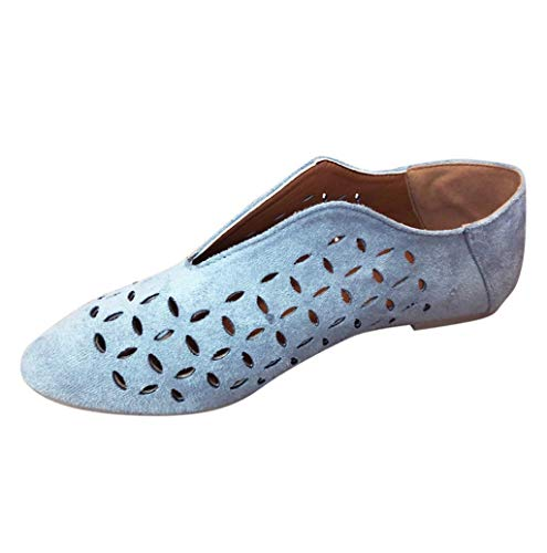 Damen Sommer Mode Hohl Mokassins Frauen Pointed Toe Flach Einfarbig Loafer Slipper Schuhe Zehenschuhe Bequeme Ballerinas Arbeitsschuhe Gr.35-43 TWBB