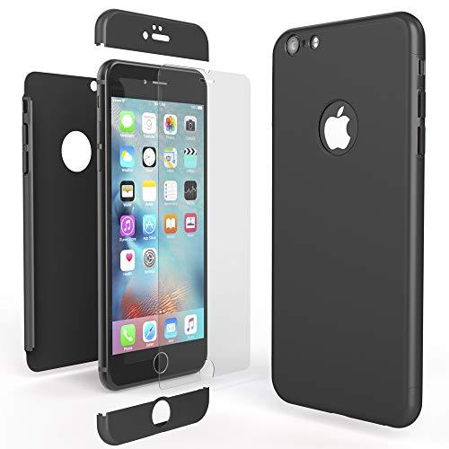 NALIA 360 Grad Handyhülle kompatibel mit iPhone 6 / 6s, Full-Cover & Glas vorne hinten Rundum Hülle Doppel-Schutz Dünn Ganzkörper Hard-Case Etui Handy-Tasche Bumper & Displayschutz, Farbe:Schwarz