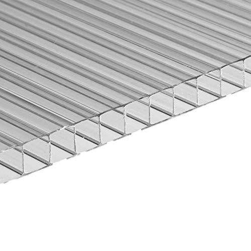 Panel de policarbonato alveolar transparente, 10 mm de grosor, 200 x 105 cm