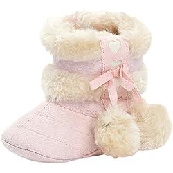 AIYUE Bambini Neonato Stivaletti Neve Scarponi da Neve Natale Scarpe Invernali Felpato con Pompon Caldo Inverno 0-18 Mesi
