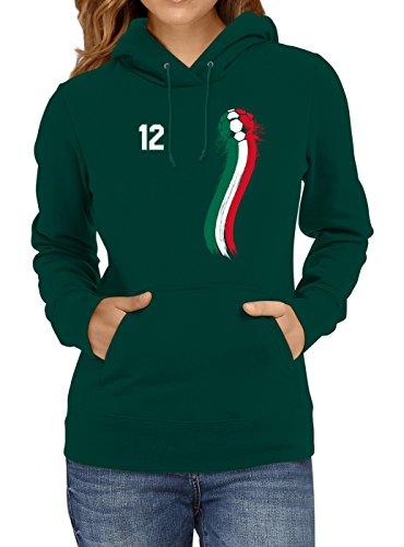 Mexiko Weltmeisterschaft 2018#33 Premium Hoodie Fan Trikot Fußball WM Nationalmannschaft Frauen Kapuzenpullover, Farbe:Dunkelgrün;Größe:XL
