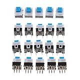 Wenwenzui-ES 20 Piezas de Bloqueo 7x7mm Mini Interruptor de botón táctil On-Off DIP-6pins