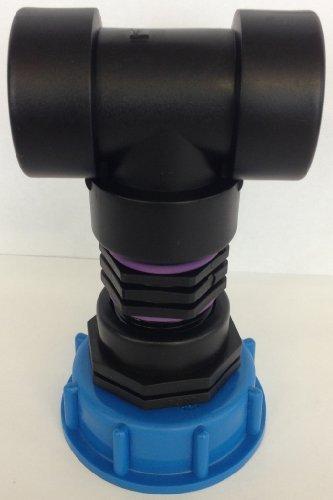CMTech GmbH Montage Technik cm2908293 Casquette Raccord S60 x 6 EIN Mamelon + Té, Kit d'accessoires pour conteneur IBC Réservoir D'eau de Pluie Adaptateur de raccord de bidon