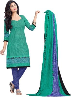 Drapes Women\'s Cotton Printed Unstitched Dress Material  Green