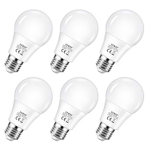 6x lampadine led e27, 8w equivalenti a 60w, colore bianco neutro 4000k, 806lm, non dimmerabile, lvwit a60 lampadine led a risparmio energetico.