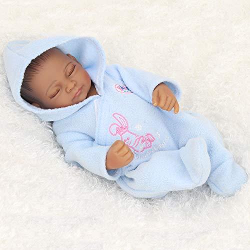 Wiedergeburtspuppe 10 Zoll 25cm Voll Silikon Reborn Babypuppen lebendig lebensechte Afroamerikaner echte Puppen realistische Mini Reborn Bebe Babies,closedeyedoll (Lebensechte Baby-puppen Für Erwachsene)