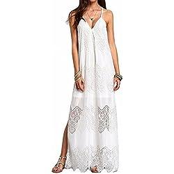 hippolo para mujer Splice de encaje sin espalda tiras en forma de fiesta noche playa largo Maxi vestido blanco XXL