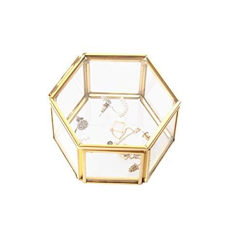 Wohlstand Schmuckschatulle aus Glas,Ringschachtel 8 * 8 * 4.5cm,Schmuck Aufbewahrungsbox Geometrische Ring Box Glas Geschenk Halter Glas-Boxc