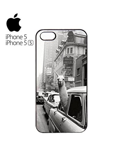 LLama Lama in the Car Vintage Retro Funny Hipster Swag Mobile Phone Case Back Cover Hülle Weiß Schwarz for iPhone 5&5s Black