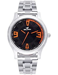 Orlando® Branded Japan Movement Chronograph Look With Black Dial & Silver Stainless Steel Belt Watches For Men - W1303S2B