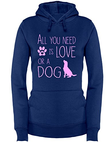 All you need is Love or a Dog - Hund - Hundebesitzer - Damen Hoodie Navy/Rosa
