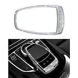 Mercedes-Zubehörteile Benz Teile Trim Touchpad BEFEHL Bildschirm Zentrale Multimedia-Bedienelemente Kappen Bezüge Innenblenden Dekorationen W204 X204 W166 X166 C Klasse GLK AMG Bling Kristall (Silber)