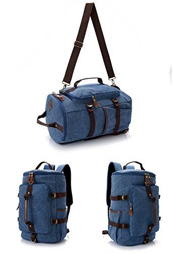 Leinwand Duffel Besatz aus echtem Rindsleder Travel Tote Seesack Handgepäck Schultertasche Blau