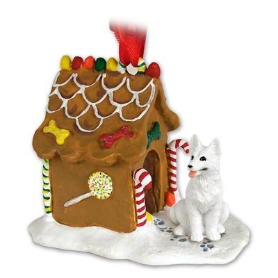 GERMAN SHEPHERD Dog White NEW Resin GINGERBREAD HOUSE Christmas Ornament 08C by Conversation Concepts -