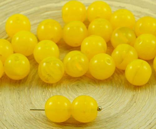 20pcs Bernstein Gelb Opal Runde Druk Gedrückt Tschechische Glas Runde Perlen 8mm -