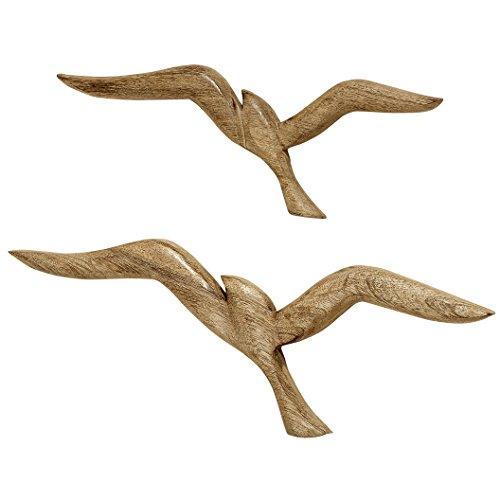 2 x Wanddeko Vögel Holz Natur braun Breite 46 & 36 cm Wandobjekt Möwen Schwalben Flügel ausgebreitet